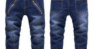 High Quality Baby Boys Jeans Autumn Children'S Washed Zipper Blue