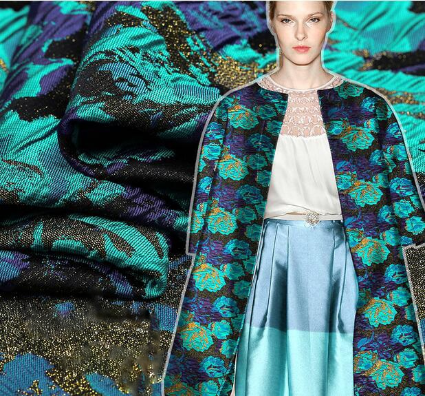 Blue green jade new French jacquard brocade fashion fabric Tingkuo
