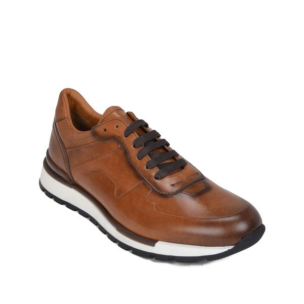 Davio Hand-Burnished Leather Sneaker - Cognac Leather u2013 Bruno Magli