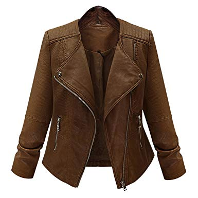 Amazon.com: Feilongzaitianba Winter Coat Women Lady Leather Short