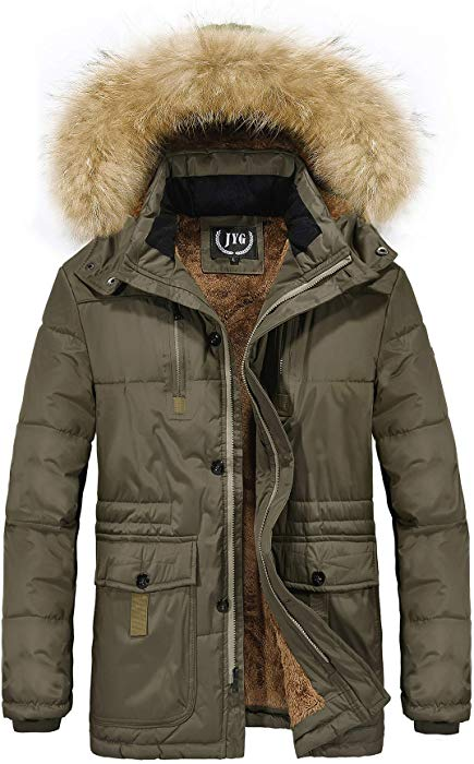 JYG Men's Winter Thicken Coat Quilted Puffer Jacket with Removable