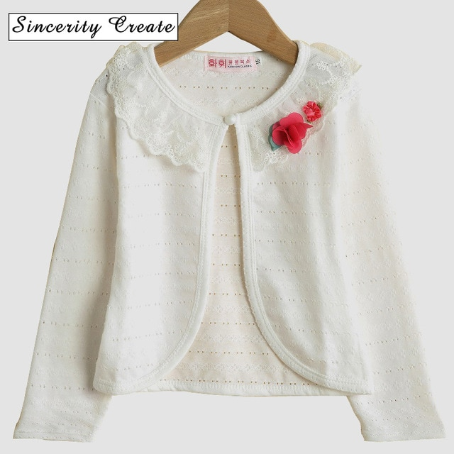 New Flowers Cotton Children's Cardigans Girls Thin Lace Long Sleeve