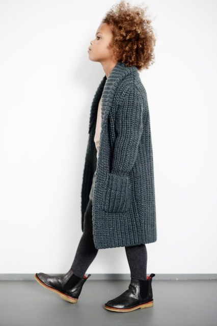 Love this long chunky knit cardigan. It's a great girls autumn look