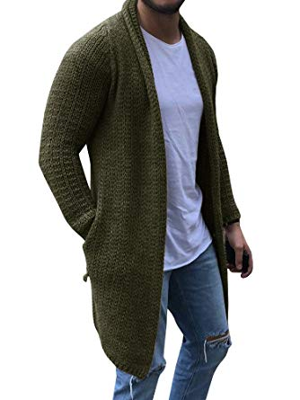 Chellysun Mens Cardigan Sweaters Long Sleeve Knit Open Front