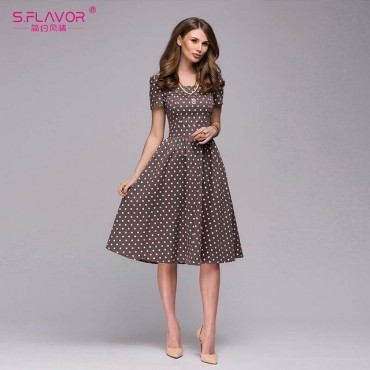 S.FLAVOR Women casual dress 2019 Spring Summer popular Dot printing