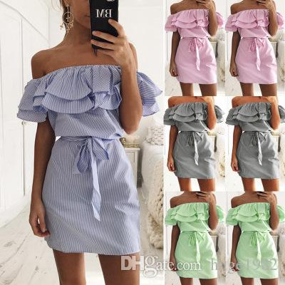 Women Ruffle Dress 2019 Stripe Off Shoulder Casual Dress For Women