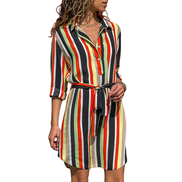 Long Sleeve Shirt Dress 2019 Summer Chiffon Boho Beach Dresses Women