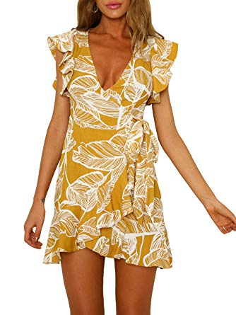 Amazon.com: Swmmer Liket Print Yellow Womens Mini Dresses Summer
