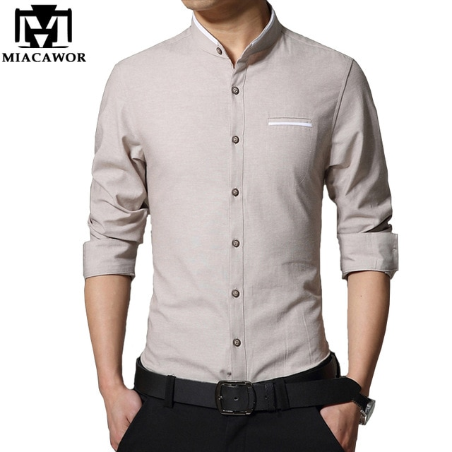 Plus Size 4XL 2019 New Men Casual Shirt Fashion Stand Collar Mens