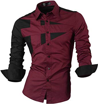jeansian Men's Slim Fit Long Sleeves Casual Button Down Dress Shirts
