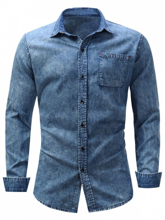 24% OFF] 2019 Turndown Collar Pocket Bleached Effect Chambray Shirt