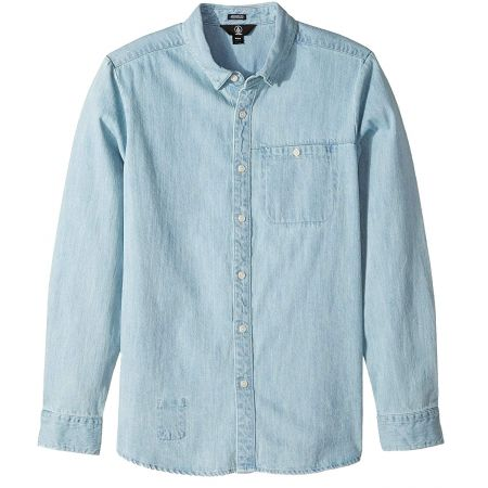 Volcom Blue Men Small S Crowley L/S Button Down Chambray Shirt