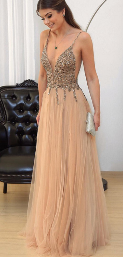 Cheap prom dresses Champagne Prom Dress, V-neck Evening Gowns,Tulle