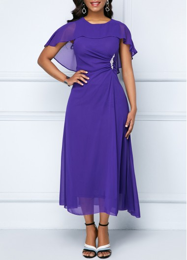 Purple Cape Shoulder Rhinestone Embellished Chiffon Dress | Rosewe