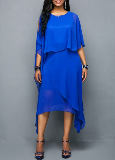 Round Neck Royal Blue Overlay Chiffon Dress | Rotita.com - USD $34.71
