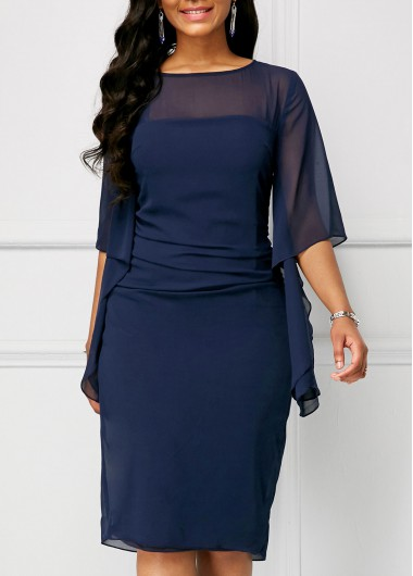 Half Sleeve Chiffon Overlay Navy Blue Dress | Rosewe.com - USD $33.92