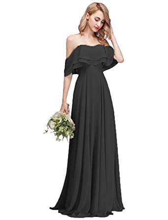 CLOTHKNOW Strapless Chiffon Bridesmaid Dresses Long with Shoulder