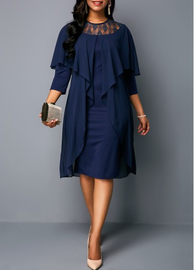 Three Quarter Sleeve Round Neck Chiffon Dress | Rosewe.com - USD $30.39