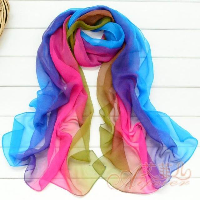 Hot Selling Chiffon Scarf Three Layers Chiffon Imitate Silk Scarf
