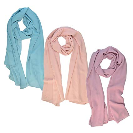 Amazon.com: Wobe 3pcs Women Soft Chiffon Scarves Shawl Long Scarf