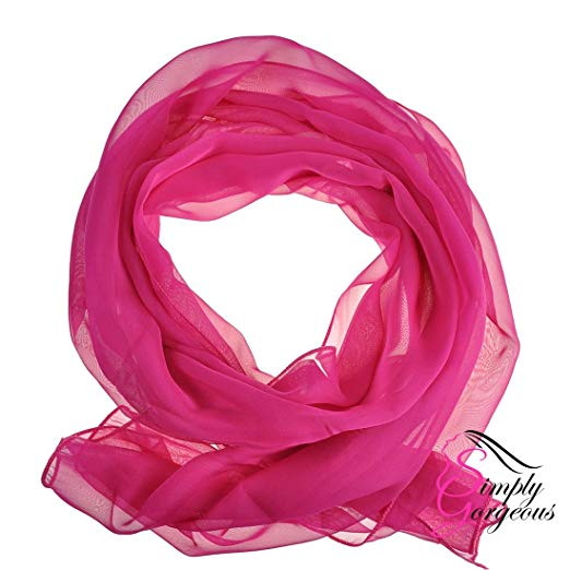 Classic Plain Chiffon Scarf Silk Feel Soft Neck lady Shawl Hijab