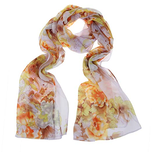 ChikaMika Chiffon Scarves for Women Light Weight Wrap Shawls Peony