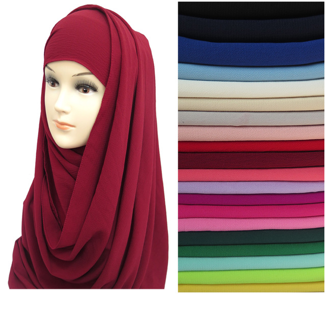 20pcs/lot Non See Through Thick Bubble Chiffon Scarf Muslim Hijab