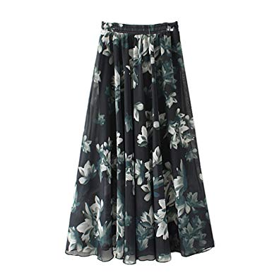 Amazon.com: Eleter Girl's Chiffon Skirt Long Skirt Fit S-M (Black
