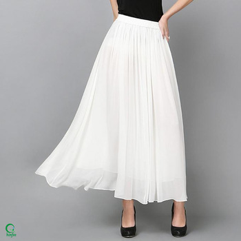 Sk086 Elastic Waistband Women Chiffon Long Plain White Cheap Maxi