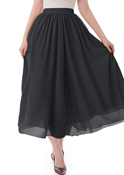 malishow Women's Long Chiffon Skirt Pleated Retro Beach Skirts A