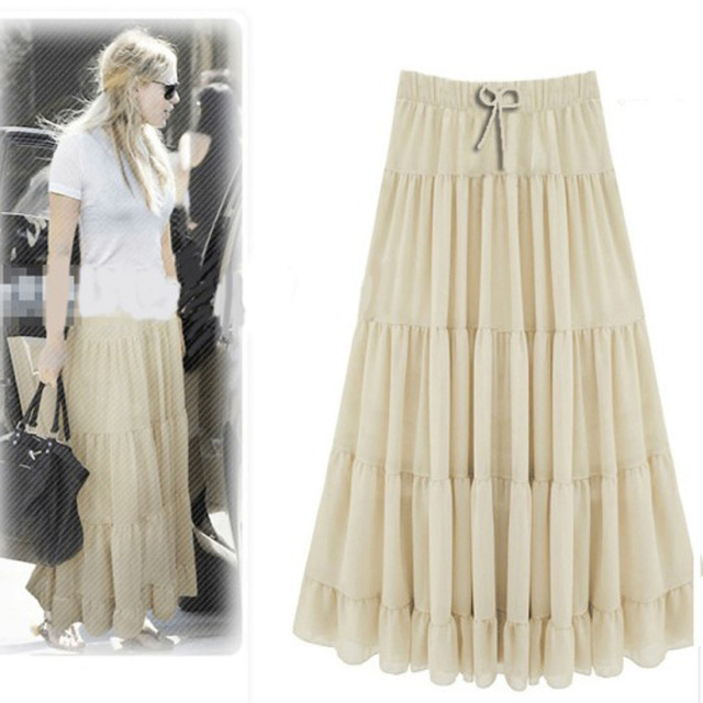 New Summer Style Long Chiffon Skirts 2017 Plus Size High Waist