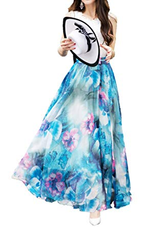 Afibi Women Full/Ankle Length Blending Maxi Chiffon Long Skirt Beach