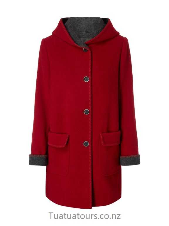 Comfortable Christian Berg Woman Selection Dark red wool coat with