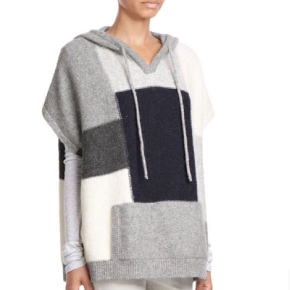Closed Sweaters | Colorblock Poncho Hooded Sweater | Poshmark