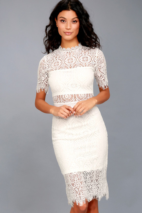 Chic White Dress - Lace Dress - LWD - Sheath Dress