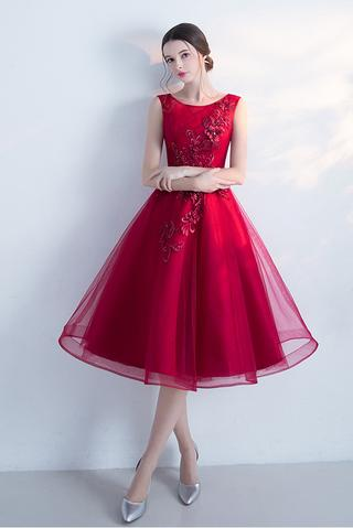 Appliqued A-line Sleeveless Tulle Cocktail Dress,Wine Red Prom