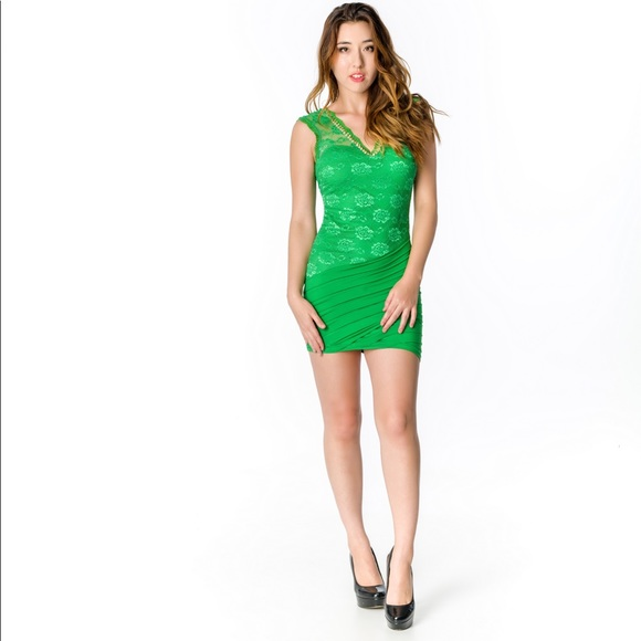 Atina Collection Skirts | Green V Neck Ace Cocktail Dress With