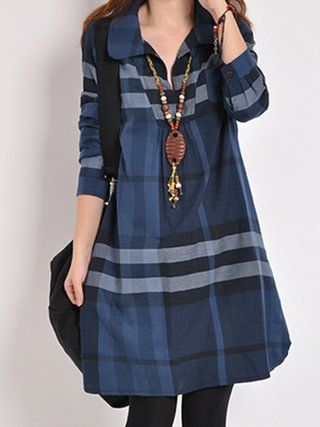 Blue A-line Women Cotton Casual Checkered/Plaid Casual Dress in 2019