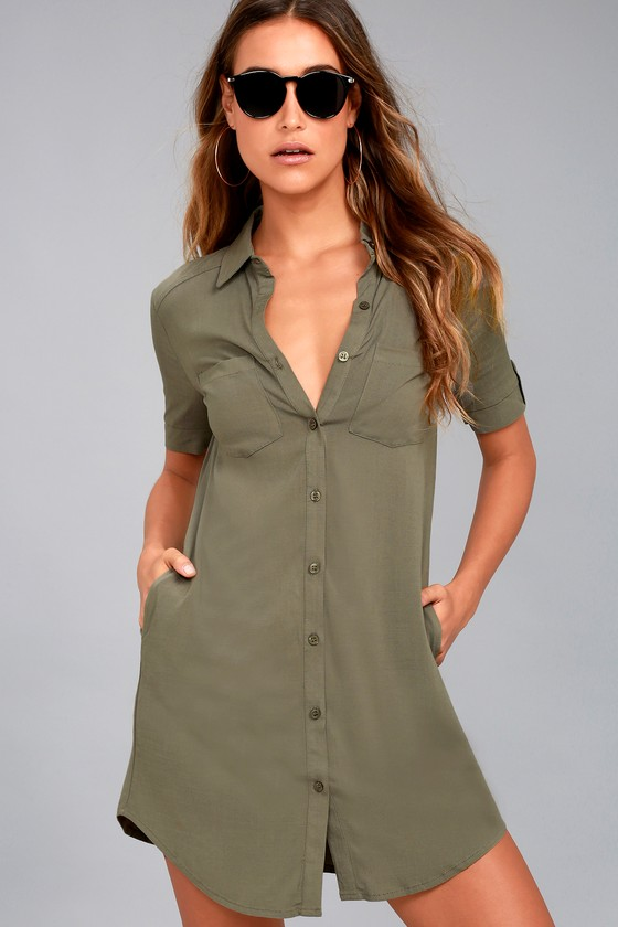 Cute Olive Green Dress - Button-Up Shirt Dress - Collared Dress