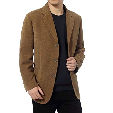 Men's Slim Fit Corduroy Blazer Sport Coat Notch Lapel Blazers