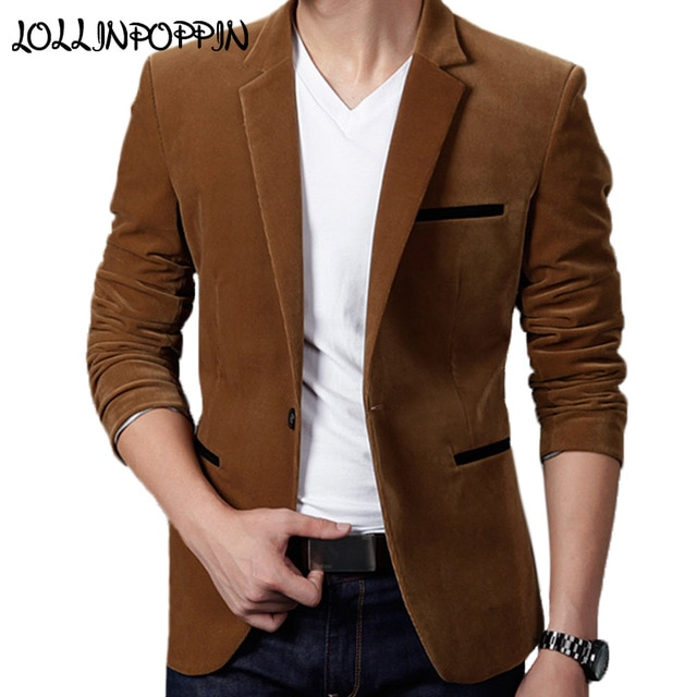 Mens Corduroy Blazers Notched Lapel Single Button Casual Blazers