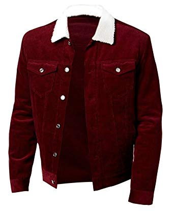 Shaun Corduroy Trucker Red White Fur Cotton Jacket at Amazon Men's