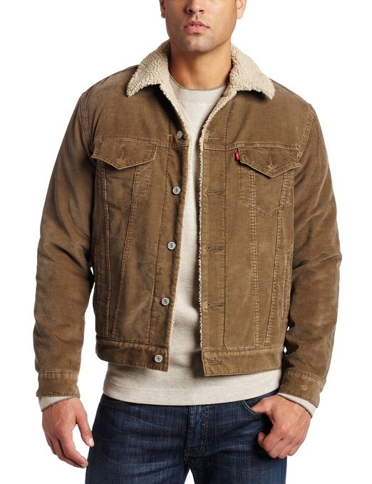Levi's Mens Corduroy Sherpa Trucker Jacket, Thorn, Small | whiskey