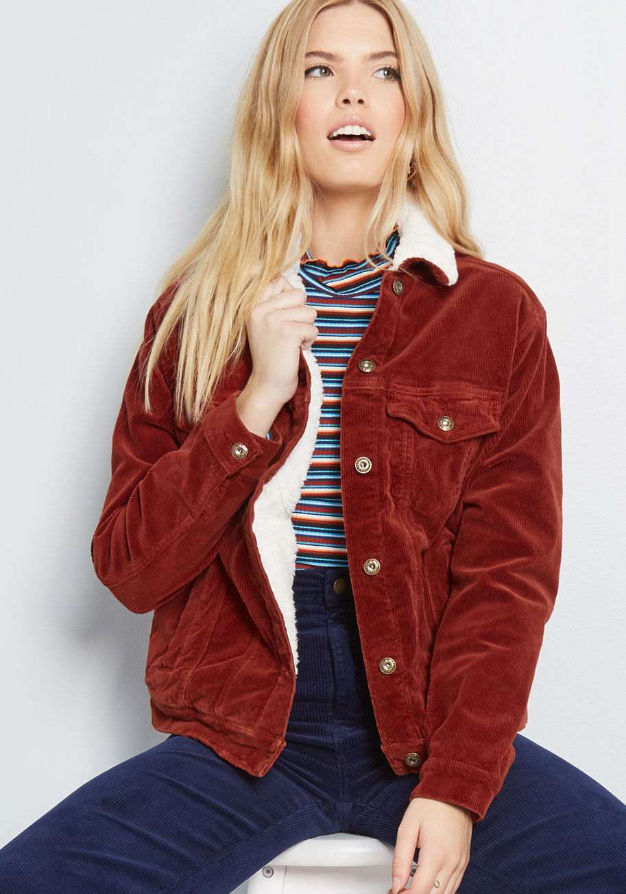 Timely Travel Corduroy Jacket in Rust Red | ModCloth