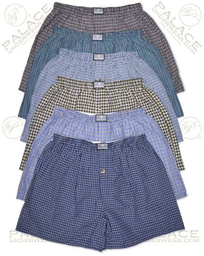 Kaiser Men's 12-Pack Squares Plaid Patterned Cotton Boxer Shorts