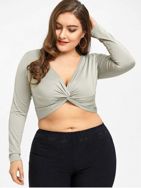 Twist Plus Size Crop Top LIGHT COFFEE: Plus Size T-shirts XL | Onful