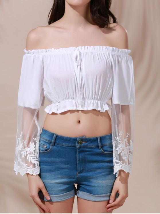 29% OFF] 2019 White Lace Spliced Flare Sleeve Off The Shoulder Crop