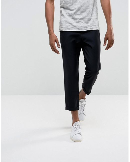 Lyst - Bellfield Cropped Pants With Pleated Front in Black for Men