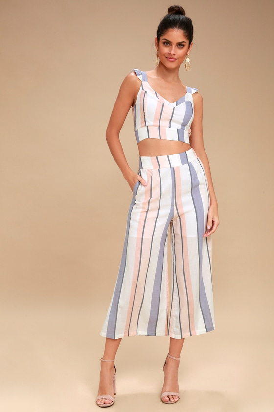 On the Road Jen - Striped Culottes - White Culottes