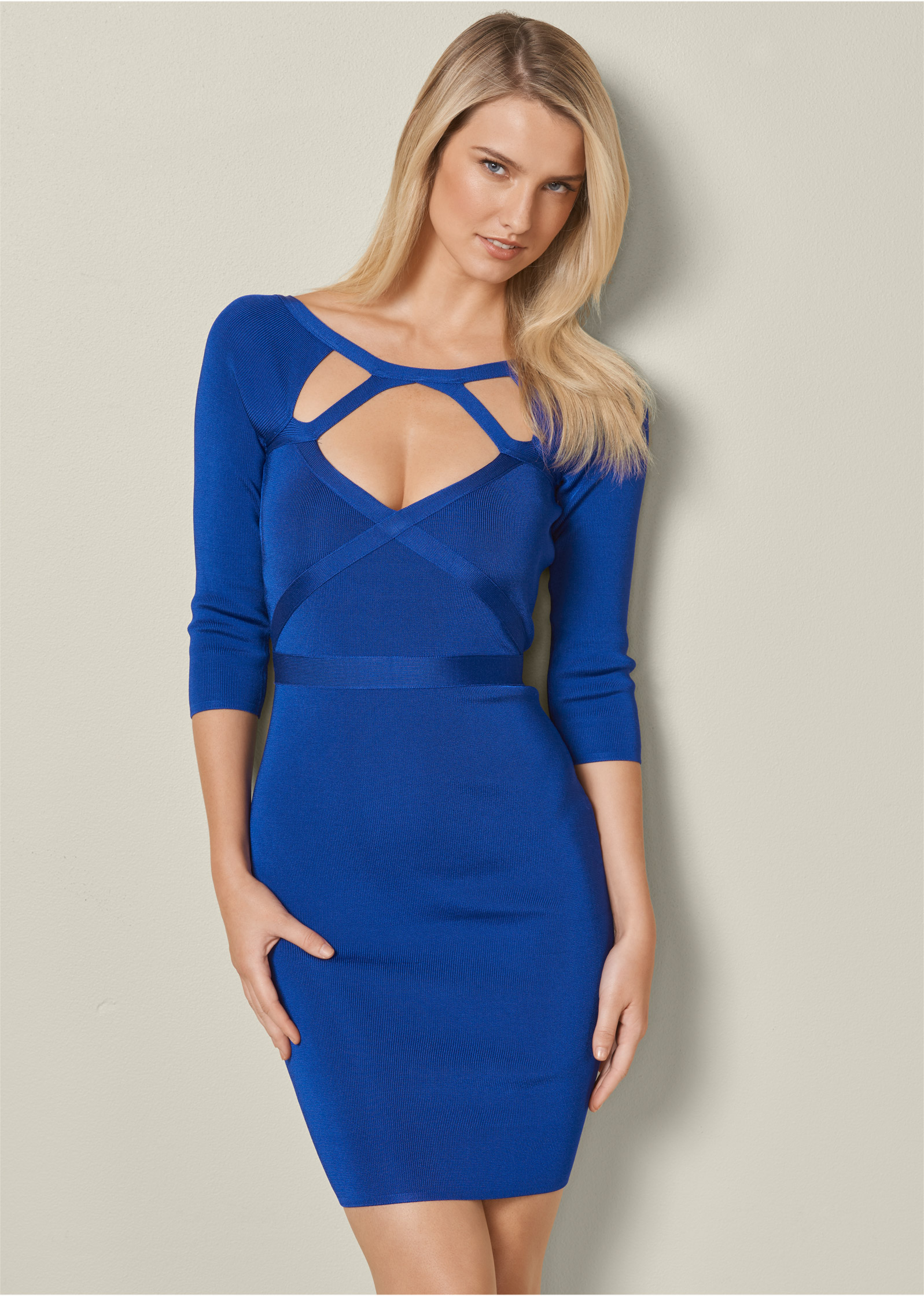 SLIMMING CUT OUT DRESS in Blue | VENUS